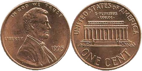 1 цент 1995 США