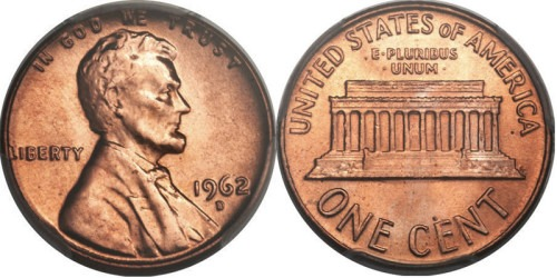 1 цент 1962 D США