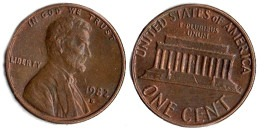 1 цент 1982 D США
