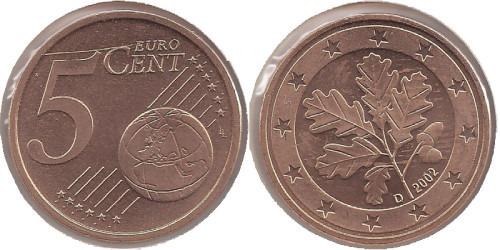 5 евроцентов 2002 «D» Германия