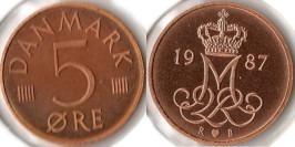 5 эре 1987 Дания