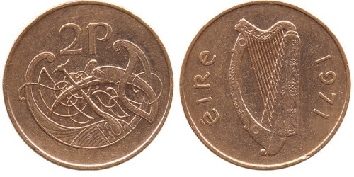 2 пенса 1971 Ирландия
