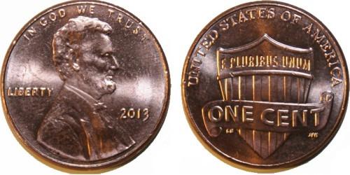 1 цент 2013 США UNC