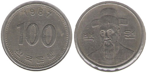 100 вон 1987 Южная Корея