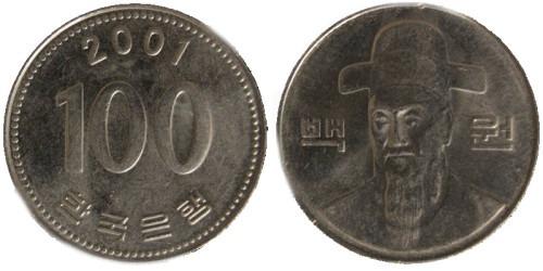100 вон 2001 Южная Корея