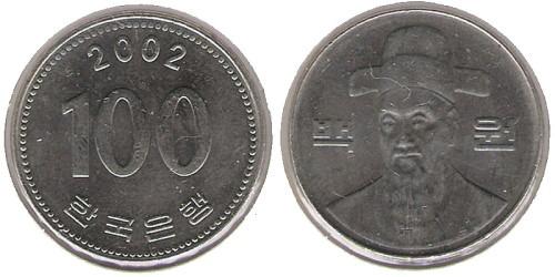 100 вон 2002 Южная Корея