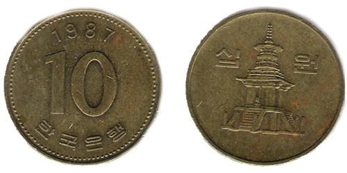 10 вон 1987 Южная Корея