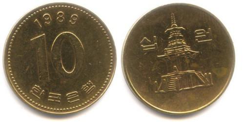 10 вон 1989 Южная Корея