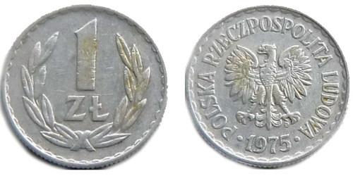1 злотый 1975 Польша — знак монетного двора