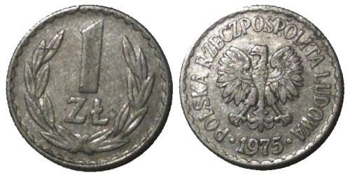 1 злотый 1975 Польша — без знака монетного двора
