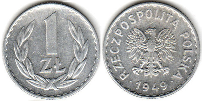 Цена польских монет 1 злат 1949 1000 рублей размер купюры