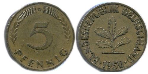 5 пфеннигов 1950 «D» ФРГ