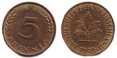 5 пфеннигов 1950 «F» ФРГ