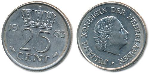 25 центов 1963 Нидерланды