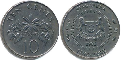 10 центов 1993 Сингапур