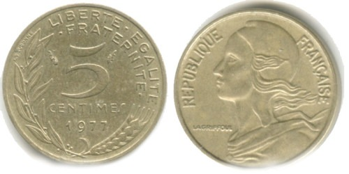 5 сантимов 1977 Франция