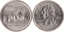 25 центов 2000 D США — Вирджиния (Виргиния)