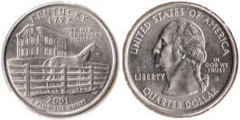 25 центов 2001 D США — Кентукки UNC