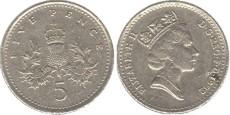5 пенсов 1992 Великобритания