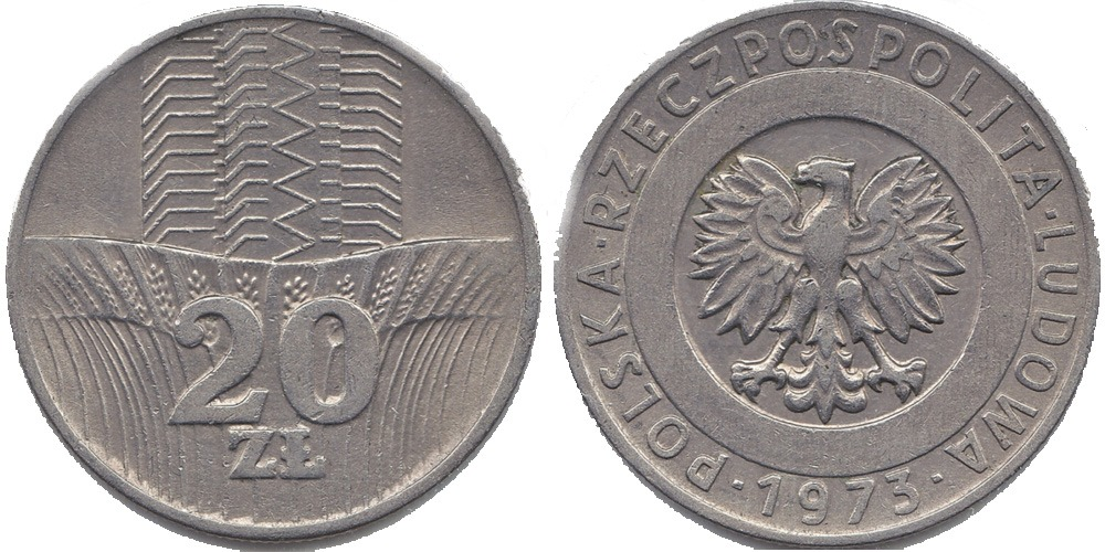 Сколько стоит монета 20 злотых 1973 года 5 копеек 1941 года цена ссср