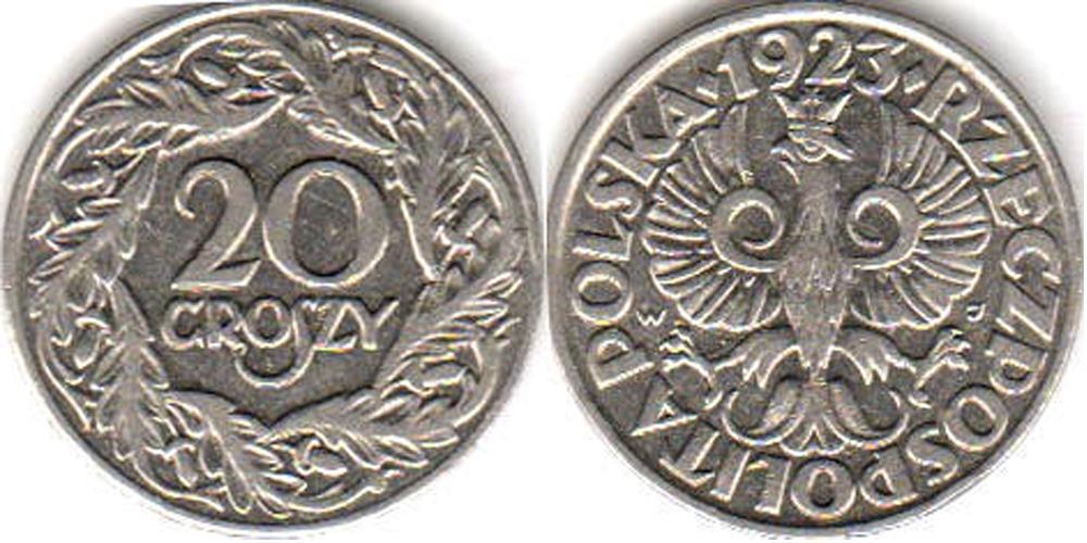 20 groszy 1923 цена дорогие монеты евро стоимость каталог цены