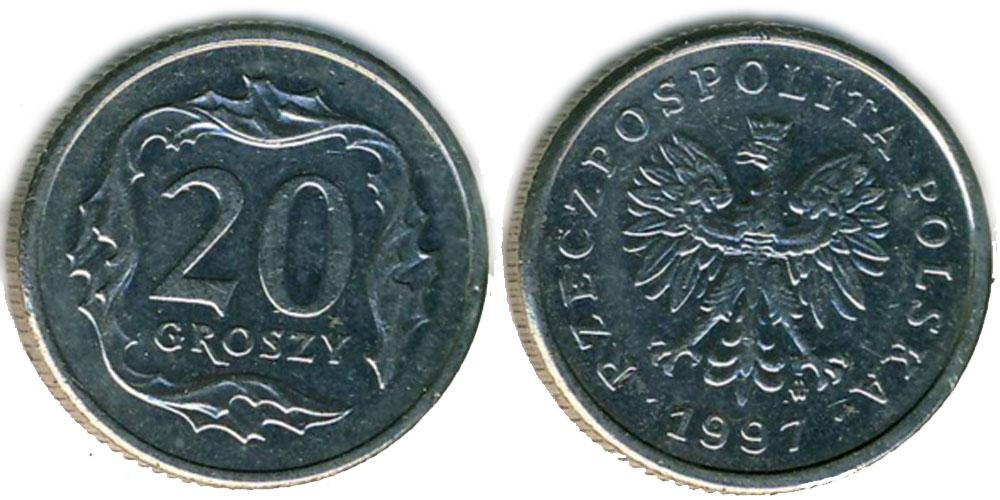 Монета 20 groszy 1997 цена купить монеты 2 евро португалия регулярная