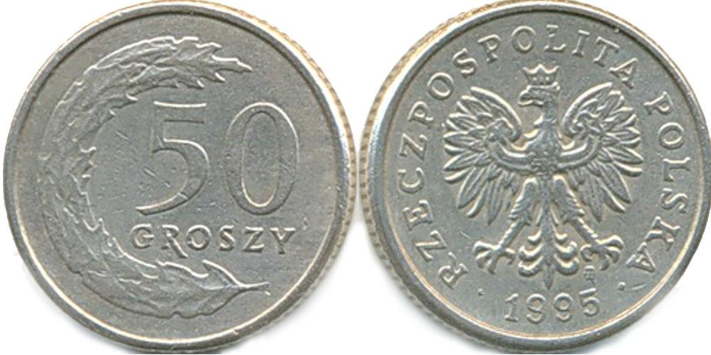 Монета польская 50 грошей 1995 г стоимость юбилейная монета 50 лет советской власти цена