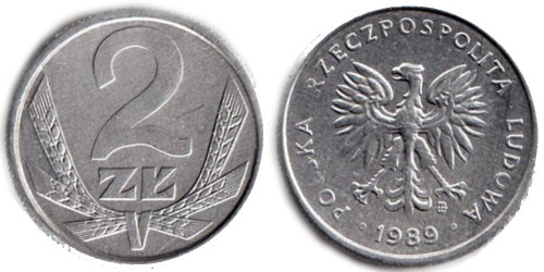 2 злотых 1989 Польша