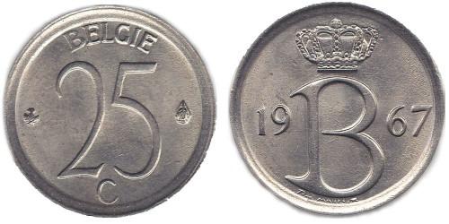 25 сантимов 1967 Бельгия (VL)