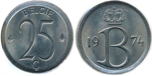 25 сантимов 1974 Бельгия (VL)
