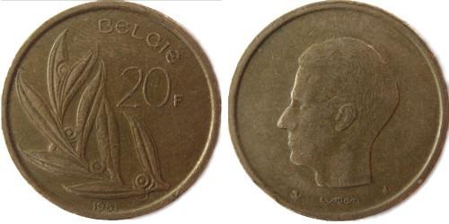 20 франков 1981 Бельгия (VL)