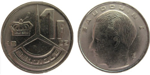1 франк 1989 Бельгия (FR)