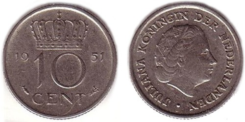 10 центов 1951 Нидерланды