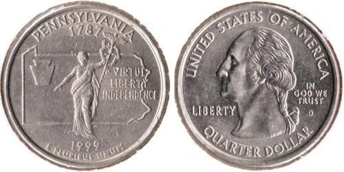 25 центов 1999 D США — Пенсильвания UNC