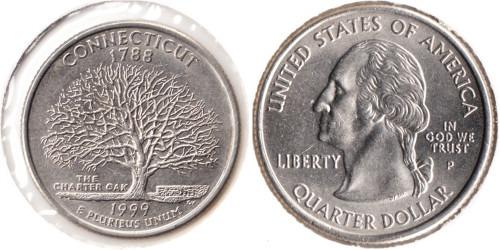25 центов 1999 P США — Коннектикут UNC