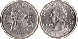 25 центов 2000 P США — Массачусетс UNC