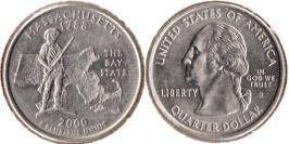 25 центов 2000 D США — Массачусетс UNC