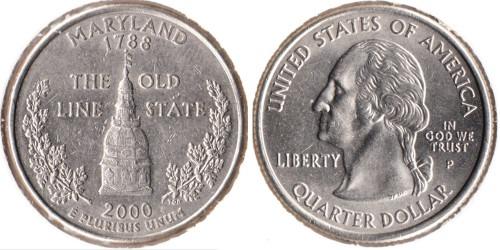 25 центов 2000 P США — Мерилэнд UNC