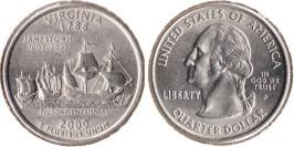 25 центов 2000 P США — Вирджиния (Виргиния) UNC