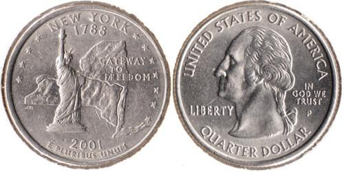 25 центов 2001 P США — Нью-Йорк UNC