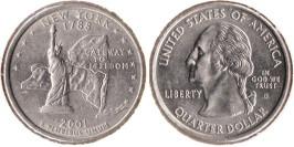 25 центов 2001 D США — Нью — Йорк UNC