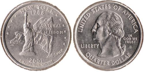 25 центов 2001 D США — Нью-Йорк UNC