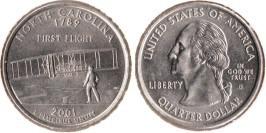 25 центов 2001 D США — Северная Каролина UNC