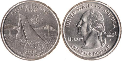 25 центов 2001 P США — Род-Айленд UNC