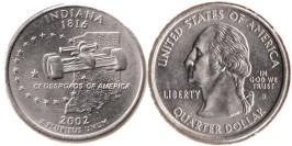 25 центов 2002 D США — Индиана UNC