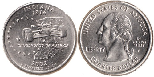 25 центов 2002 P США — Индиана UNC