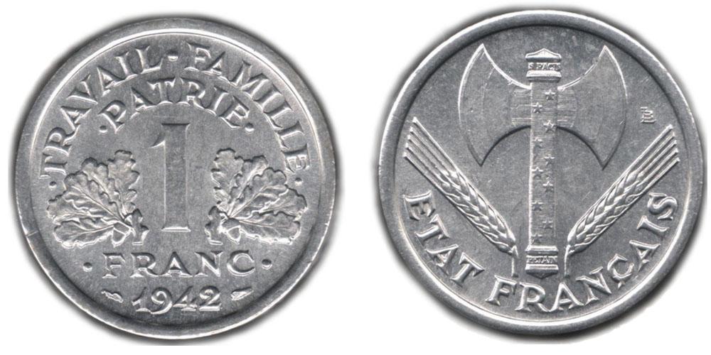 1 франк 1942 цена автомобильный всероссийский альянс акции цена
