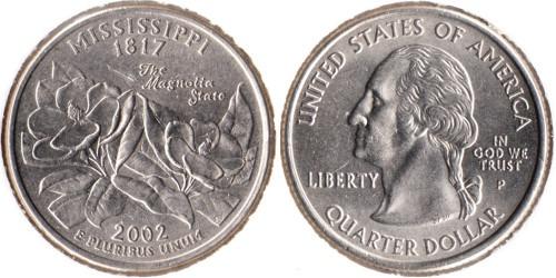 25 центов 2002 P США — Миссисипи UNC