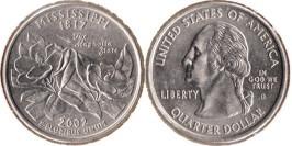 25 центов 2002 D США — Миссисипи UNC