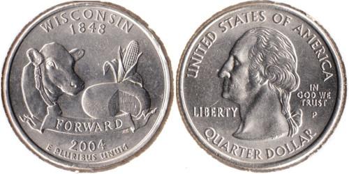 25 центов 2004 P США — Висконсин UNC